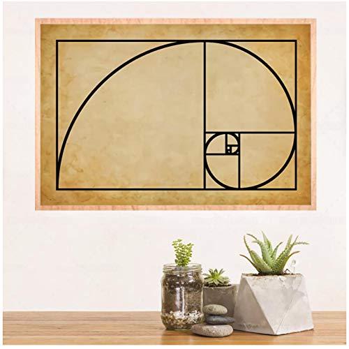 FACAIA Pôster espiral Fibonacci exclusivo Ciência Matemática, proporção dourada, pintura em tela, presente para decoração de casa, 50 x 75 cm, sem moldura
