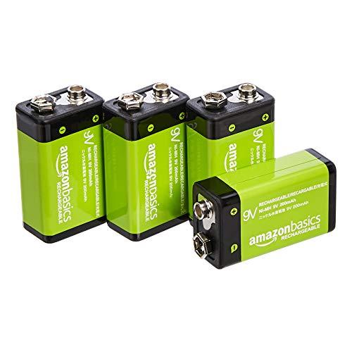 Amazon Basics - 9-V-Zellen, wiederaufladbare Batterien, 200 mAh NiMH, 4er-Packung