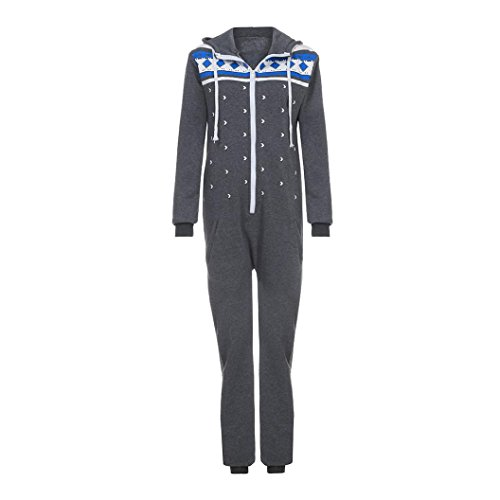 Elecenty Damen 3D Drucken Jumpsuit Schlafanzug Frauen Langarm Weihnachten Elch Winter warm lang mit Kapuze Overall (Dunkelgrau) - 4