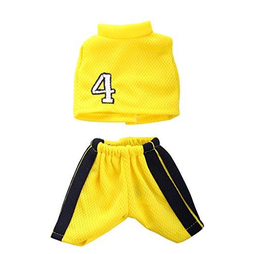 Set de Ropa Deportiva Camisa Pantalones Armarillos para 14 Pulgadas Muñeca