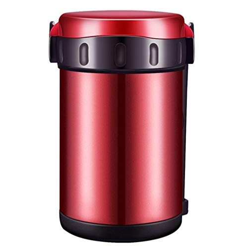 Stainless Steel Schotelwarmer Geïsoleerde Lunch Box Insulated Container van het Voedsel for School Travel kamperen en wandelen (Color : Red)