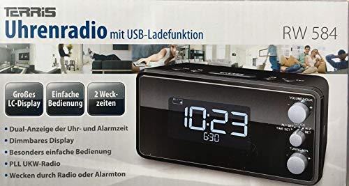 TERRIS-RW-584-Uhrenradio-mit-USB-Radio-grosses-dimmbares-LC-Display-PLL-UKW-Radio