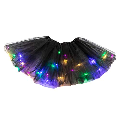 Gaddrt Damen LED Tütü Rock Minirock Mesh Tüllrock Unterrock Tanzkleid Tanzrock Kurz Rock Pailletten Plissee Prinzessin Rock mit LED Kleiner Lampenrock