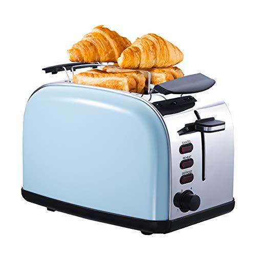 Tostadora que se puede hornear por ambos lados tiene 6 configuraciones de horneado, Máquina de pan tiene una parrilla metálica y una cubierta antipolvo, Tostadora multifunción para todo tipo de pan