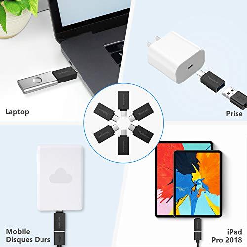 Yootech Adapter USB C auf USB 3.1 (OTG), USB Typ C Stecker auf USB A Buchse, Anschluss mit Datenübertragung für Samsung/Huawei/MacBook Pro, andere Geräte mit USB Typ C-4 Stück (schwarz)
