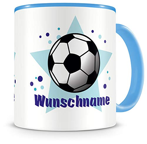 Samunshi® Kindertasse mit Namen Tasse Fussball Personalisierte Tasse mit Namen Kinder Kinderbecher mit Namen Kindergarten blau 300ml