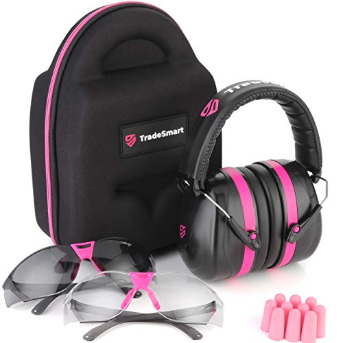 TRADESMART Shooting Ear-Protection Earmuffs, 2 X Safety Glasses, Protective Case