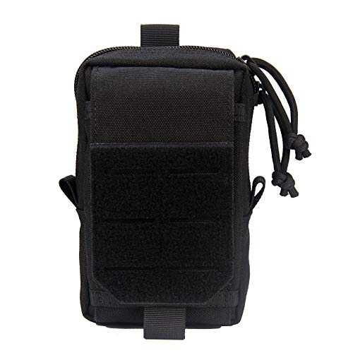 Mioyow Tactical Pouch Soft EDC, Utility Pouches Molle Gadget Organiser Compact 1000D Phone Case Men Belt Size - Black - M