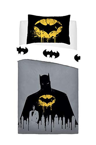 Warner Brothers Reversible Printed Batman Dark Knight Poly Cotton Duvet Quilt Cover Set, 2 Pcs - Single