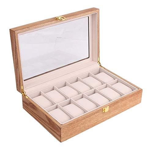 Baoblaze Uhrenbox für 10/12 Uhren, Holz Uhrenkasten Verschließbar, Uhrenschachtel, Uhren Schatulle, Uhrenvitrine, Uhren Genschenkbox für Damen und Herren - 12 Slot Fraxinus