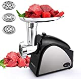 Meat Grinder Electric for Home Use with 3 Grinding Plates and Sausage Stuffing Tubes Stainless Steel...