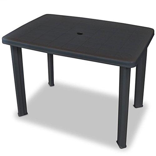 Festnight Gartentisch Esstisch Tisch Terrassentisch 101 x 68 x 72 cm Kunststoff Anthrazitgrau