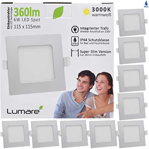 Lumare LED Einbaustrahler 6W 230V IP44 Ultra flach 9er Set Wohnzimmer, Badezimmer Einbauleuchten silber quadratisch 26mm Einbautiefe Mini Slim Decken Spot warmweiß