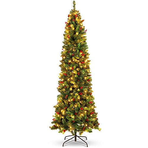 Best Choice Products 12ft Pre-Lit Spruce Pencil Christmas Tree Pre-Decorated for Home, Office, Party, Holiday Decoration w/ 1,818 Tips, 700 Lights, Pine Cones, Metal Hinges & Base - Green