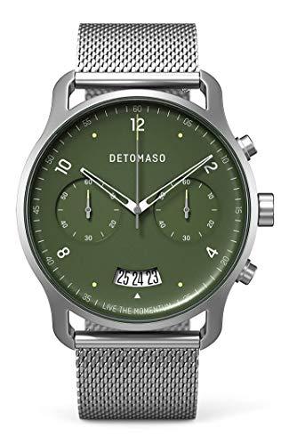 DETOMASO SORPASSO Chronograph Green Herren-Armbanduhr Analog Quarz Mesh Milanese Uhren-Armband Silber
