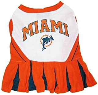 Pets First Miami Dolphins Cheerleader Dog Dress Outfit Licensed NFL (XS)