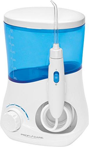 ProfiCare PC-MD 3005 Elektrische Munddusche, 3 Reinigungsdüsen + 1 Aufsatz für Zungenreinigung, Timerfunktion, stufenlos einstellbarer Wasserdruck, Spritzwassergeschützt