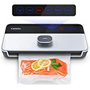 CalmDo Vacuum Sealer, Fully Automatic Food Sealer Machine with One-Touch Vacuum Air System, 6 Customized Modes LED Indicator Lights Starter Bags for Dry and Moist Food Fruits Fresh Preservation