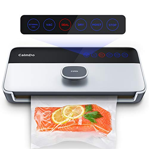 CalmDo Vacuum Sealer, Fully Automatic Food Sealer Machine with One-Touch Vacuum Air System, Customized Vacuum Modes Starter Bags for Dry and Moist Food Fruits Fresh Preservation