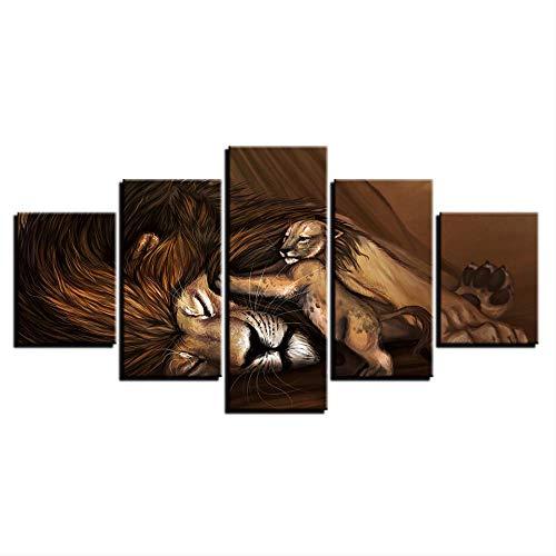 Kunst Poster Wand Modulares Bild Home Decor 5 Panel Tier Löwe Baby Malerei Drucken auf Leinwand Für Wohnzimmer Moderne Schriftgröße 1 Mit Rahmen