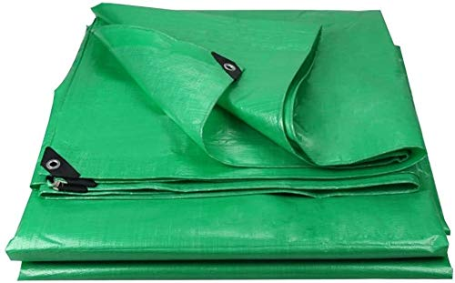 LICCC Tarpaulin Waterproof Thicken Tarpaulin Tarp Ground Sheet Covers Awning Tent Cloth Heavy Duty Reinforced Rainproof Sun Shade Outdoor, Multi Sizes, 180G/M² (Color : Green, Size : 10x12m)