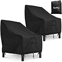 Taufey Patio Chair Covers, 37''Lx40''Dx30''H 600D Heavy Duty Rip-Stop and Waterproof Outdoor Chair Covers (2 Pack - Large, Black)