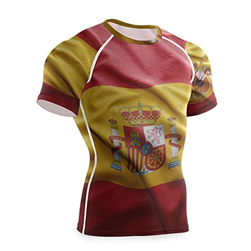 Magnesis Camiseta de compresión de manga corta para hombre de la bandera de España