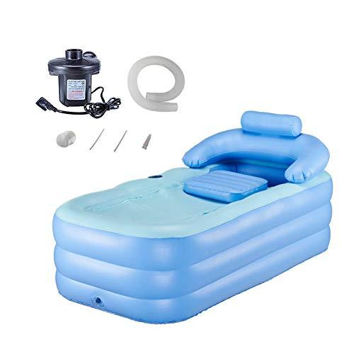 Tech-L - Bañera hinchable de plástico plegable portátil para bañera de hidromasaje con bomba de aire eléctrica, color azul