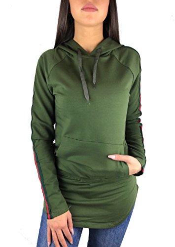Worldclassca Damen Camouflage Sweatshirt TARN Kapuzen MIT SEITLICHEN Streifen Army T-Shirt LEICHTE Sommer Hoodie Langarmshirt Oberteil Pulli Fitness Blogger S-L (S, Grün)