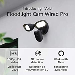 Introducing Ring Floodlight Cam Wired Pro with Bird's Eye View and 3D Motion Detection (2021 release), Black