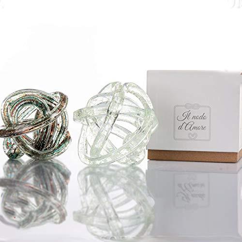 Ingrosso e Risparmio Cuorematto - Nodos del amor en cristal, surtidos en 2 colores, detalles solidarios para boda, bodas 2020, con caja de regalo incluida