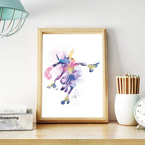 N / A Decoration Canvas Greninja Watercolor Pokemon Poster Prints Watercolor Pokemon Go Anime Wall Art Canvas Painting Picture Gift Baby Room Decor Kitchen Bedroom Decoration
