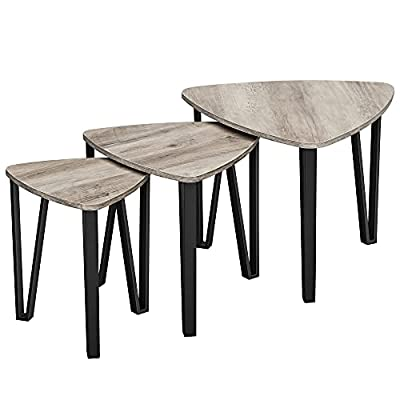 VASAGLE Industrial Nesting Coffee Table, Set of 3 End Tables for Living Room