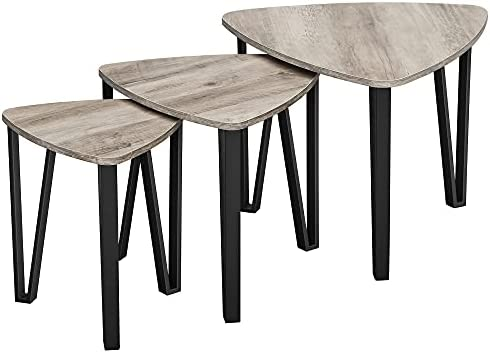 VASAGLE Industrial Nesting Coffee Table, Set of 3 End Tables for Living Room, Stacking Side Tables, Easy Assembly, Wood Look Accent Furniture with Metal Frame, Greige and Black ULNT013B02
