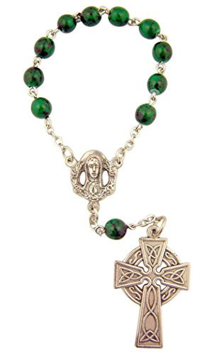 Green One Decade Celtic Cross Beaded Rosary Bracelet, 4 Inch