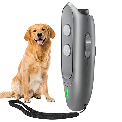 NLUS Dog Barking Deterrent Devices, Anti Barking Device USB Rechargeable 3 Frequency No Barking Devices 2 in 1 Dog Training Tool 16.5 Ft Range with Indicator