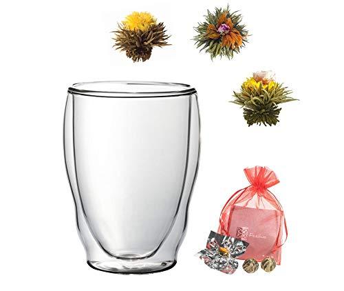 Teeset: 1x 460ML XXL Thermoglas + 3x Grüntee-Teeblumen, doppelwandiges Glas WELLENFORM + 3x grüner Erblühtee, Probier- und Geschenkset - by Feelino