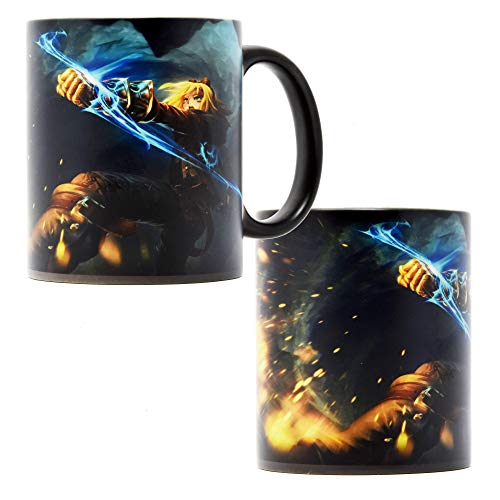 Leauge of Legends Ezreal Kaffeetasse, hitzereaktiv, mit Farbwechsel, Keramik, handgefertigt, Anime-Geschenk 300 ml
