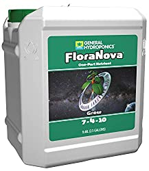 General Hydroponics HGC718807 FloraNova Grow 7-4-10, Robust Strength Of Dry Fertilizer But In Rapid Liquid Form Use For Hydroponics, Soilless Mixtures, Containers & Garden Grown Plants, 2.5-Gallon