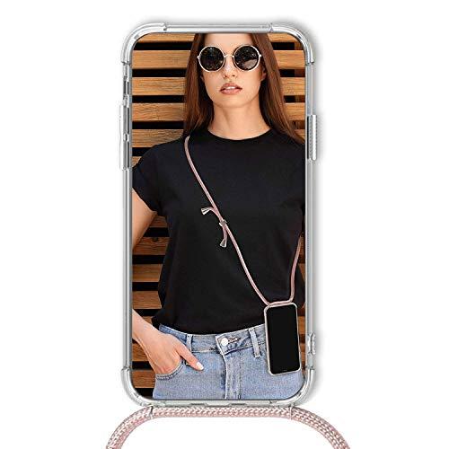XTCASE Handykette kompatibel mit Huawei Mate 10 Lite Handyhülle, Smartphone Necklace Hülle mit Band Transparent Schutzhülle Stossfest - Schnur mit Case zum Umhängen in Roségold - 3