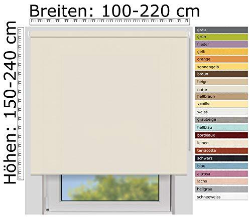 EFIXS Sichtschutzrollo Medium - 25 mm Welle - Farbe: Natur (4996) - Größe: 160 x 190 cm (Stoffbreite x Höhe) - lichtdurchlässig - Blickdicht