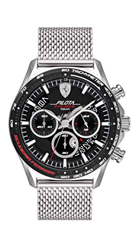 Ferrari Reloj de cuarzo para hombre con correa de acero inoxidable, plateado, 22 (Modelo: 0830826)