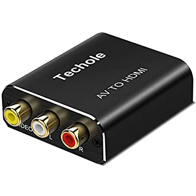 Techole RCA to HDMI [RCA Cables Included], Aluminum 1080P AV to HDMI Video Converter, RCA Composite CVBS Adapter Support PAL/NTSC with USB Charge Cable for PC Xbox PS3 TV STB VHS VCR Camera DVD