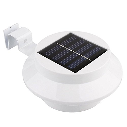 No-Branded WUFAJINWU Outdoor Solar Gutter Lights 3 LED Solar Fence Post Lights Wall Mount Lighting with Auto On/Off Dusk to Dawn (Color : White)