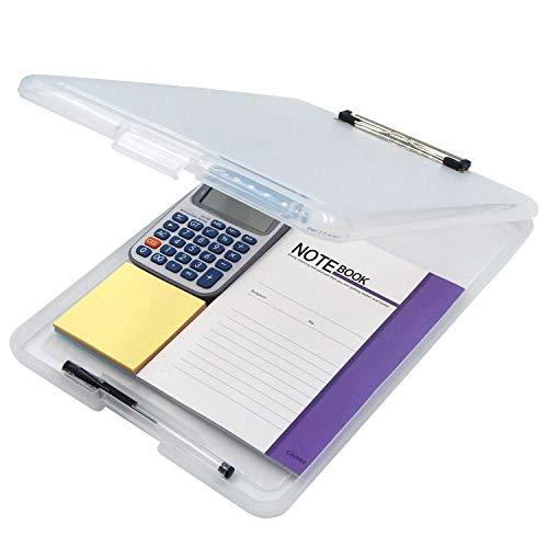 JEBBLAS SlimMate Portable Desktop Klemmbrett mit Innenfach, für DIN A4 besonders flach, abgerundete Ecken, oben öffnend, Kunststoff, durchsichtig klemmbrett mit deckel