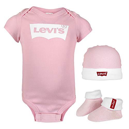 Levis Kids Classic Batwing Infant Hat, Bodysuit, Bootie Set 3PC 0019 and Toddler Layette Bébé fille, Rose (Fairy Tale), 6-12 Mois