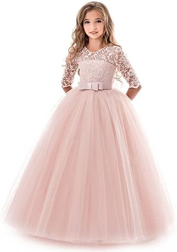 NNJXD Girl s Embroidery Tulle Lace Flower Girl Wedding Dress 3 4 Sleeve Long A Line Pageant product image