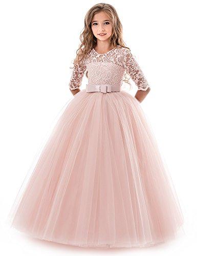 NNJXD Mädchen Festzug Stickerei Prom Kleider Prinzessin Hochzeit Kleidung Größe(130) 7-8 Jahre Rosa