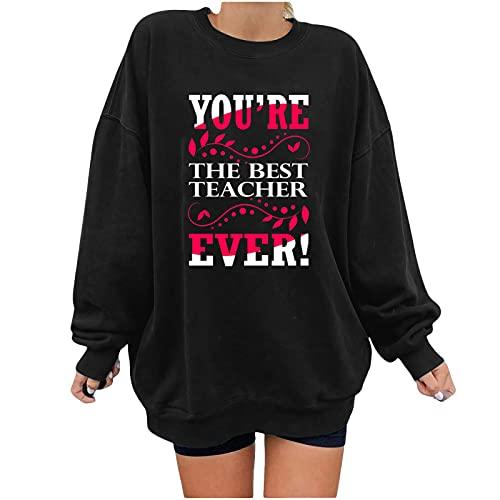 Workout Tops for Women Trendy Sweatshirt Vintage Letter Graphic Comfy Soft Pullover Ladies Crewneck Long Sleeve Blouses Black