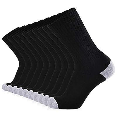 JOURNOW Men's Cotton Moisture Wicking Extra Heavy Cushion Sport Hiking Working Crew Socks 10 Pairs (10-13, Black)